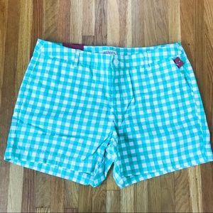 Green Gingham Chino Shorts